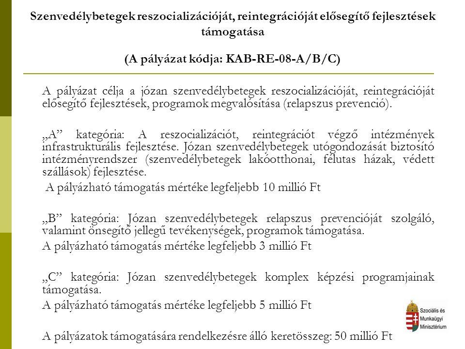 Szenvedélybetegek reszocializációját, reintegrációját elősegítő fejlesztések támogatása (A pályázat kódja: KAB-RE-08-A/B/C) A pályázat célja a józan s