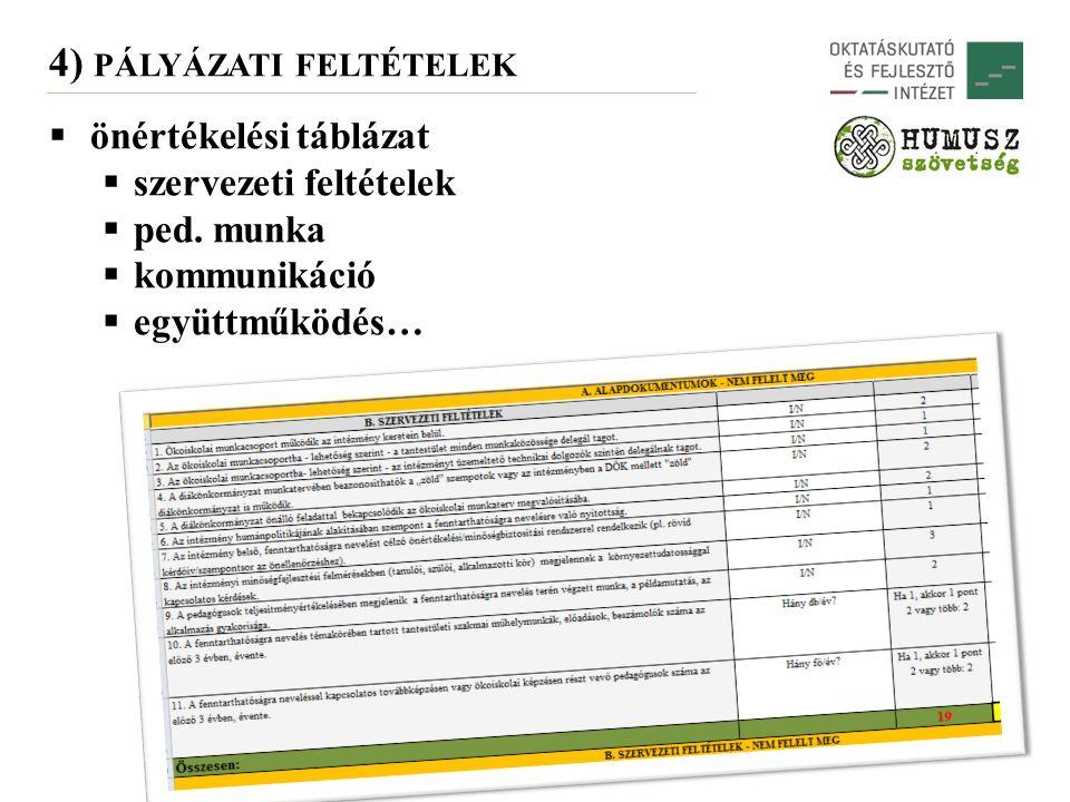 4) PÁLYÁZATI FELTÉTELEK  önértékelési táblázat  szervezeti feltételek  ped.