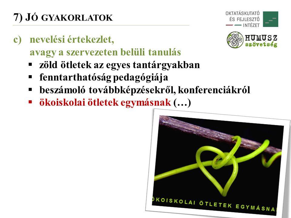 7) J Ó GYAKORLATOK c)nevelési értekezlet, avagy a szervezeten belüli tanulás  zöld ötletek az egyes tantárgyakban  fenntarthatóság pedagógiája  beszámoló továbbképzésekről, konferenciákról  ökoiskolai ötletek egymásnak (…)