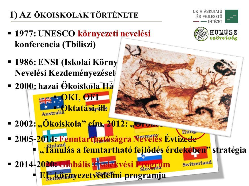  1986: ENSI (Iskolai Környezeti Nevelési Kezdeményezések) (OECD)  2000: hazai Ökoiskola Hálózat  OKI, OFI  Oktatási, ill.