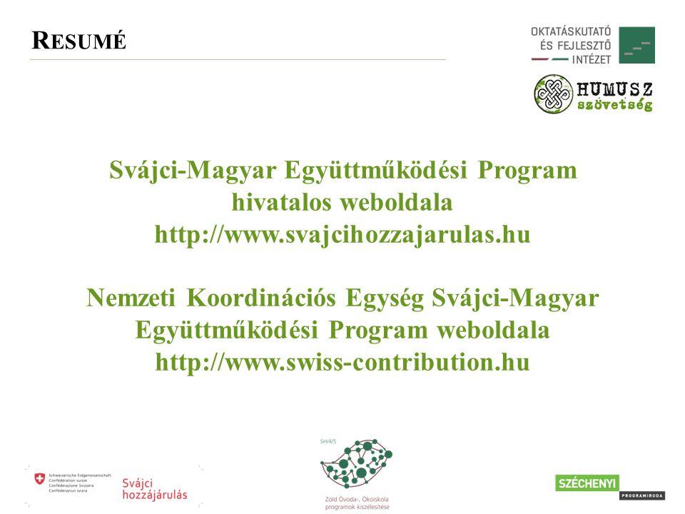Svájci-Magyar Együttműködési Program hivatalos weboldala http://www.svajcihozzajarulas.hu Nemzeti Koordinációs Egység Svájci-Magyar Együttműködési Program weboldala http://www.swiss-contribution.hu R ESUMÉ