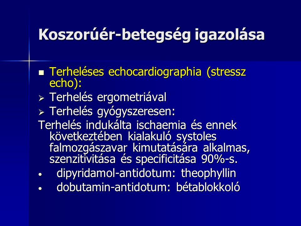 Koszorúér-betegség igazolása Terheléses echocardiographia (stressz echo): Terheléses echocardiographia (stressz echo):  Terhelés ergometriával  Terhelés gyógyszeresen: Terhelés indukálta ischaemia és ennek következtében kialakuló systoles falmozgászavar kimutatására alkalmas, szenzitivitása és specificitása 90%-s.