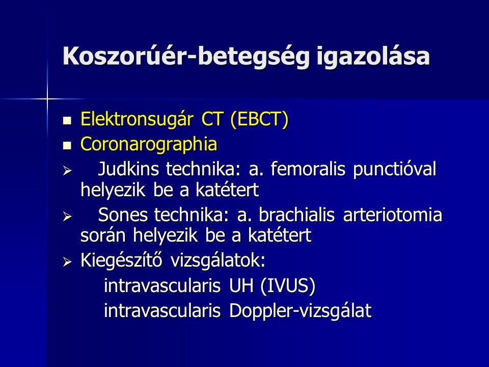Koszorúér-betegség igazolása Elektronsugár CT (EBCT) Elektronsugár CT (EBCT) Coronarographia Coronarographia  Judkins technika: a.