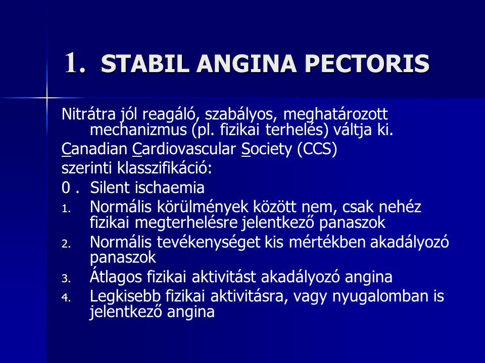 1. STABIL ANGINA PECTORIS Nitrátra jól reagáló, szabályos, meghatározott mechanizmus (pl.