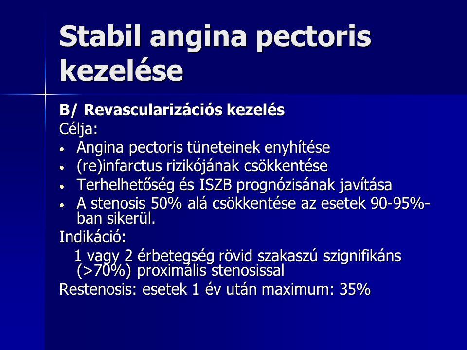 Stabil angina pectoris kezelése B/ Revascularizációs kezelés Célja: Angina pectoris tüneteinek enyhítése Angina pectoris tüneteinek enyhítése (re)infarctus rizikójának csökkentése (re)infarctus rizikójának csökkentése Terhelhetőség és ISZB prognózisának javítása Terhelhetőség és ISZB prognózisának javítása A stenosis 50% alá csökkentése az esetek 90-95%- ban sikerül.