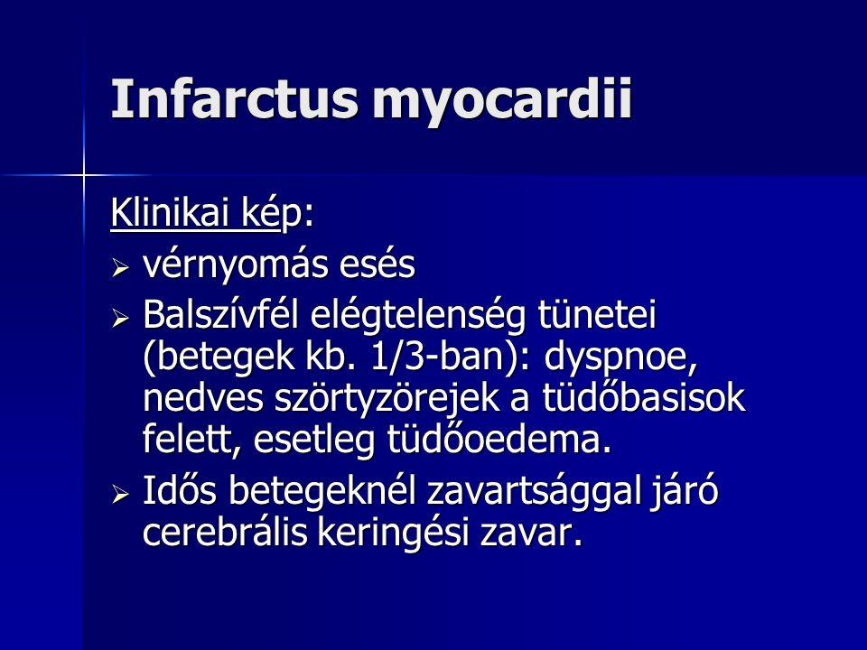 Infarctus myocardii Klinikai kép:  vérnyomás esés  Balszívfél elégtelenség tünetei (betegek kb.