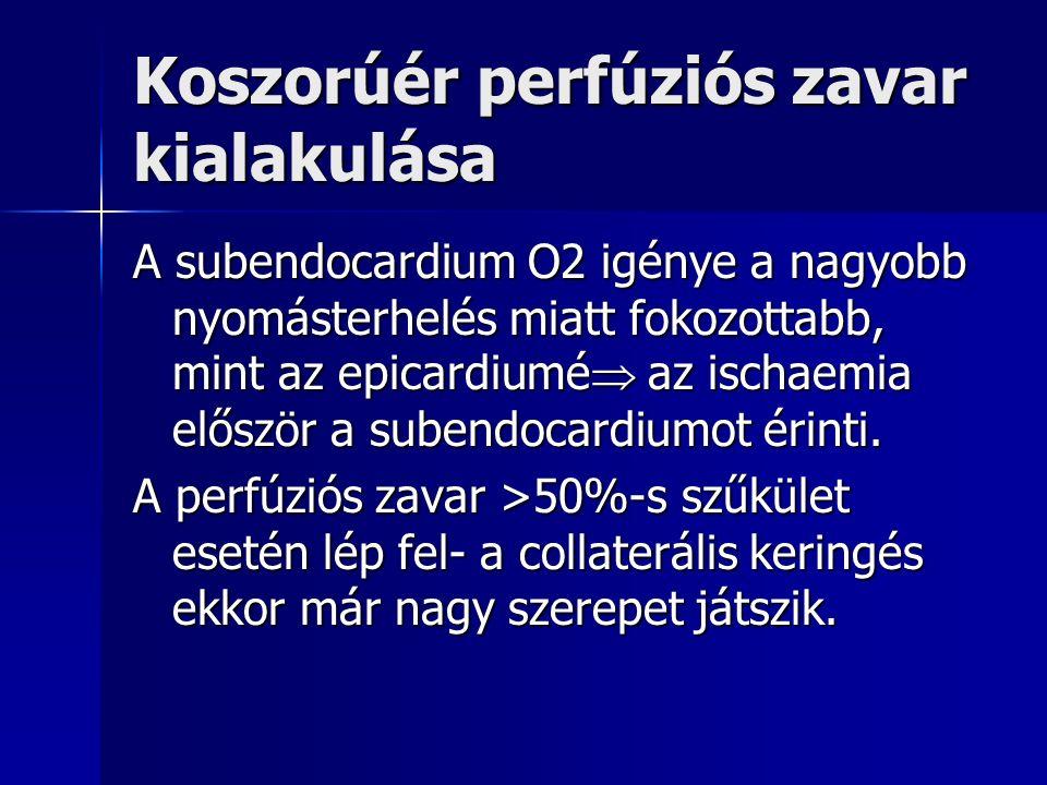 Koszorúér perfúziós zavar kialakulása A subendocardium O2 igénye a nagyobb nyomásterhelés miatt fokozottabb, mint az epicardiumé  az ischaemia először a subendocardiumot érinti.