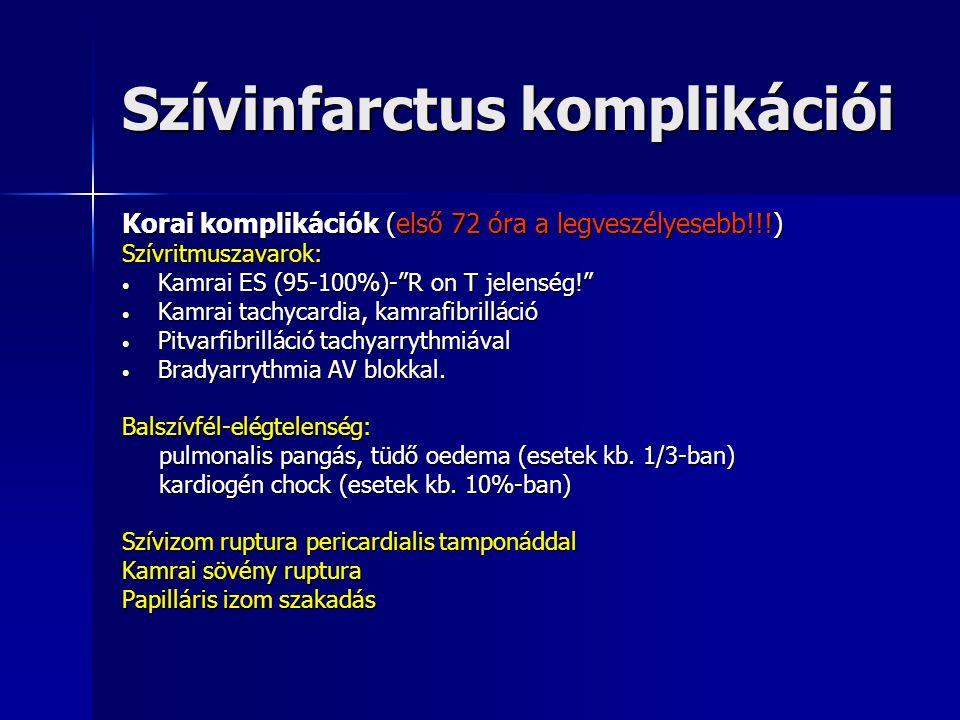 Szívinfarctus komplikációi Korai komplikációk (első 72 óra a legveszélyesebb!!!) Szívritmuszavarok: Kamrai ES (95-100%)- R on T jelenség! Kamrai ES (95-100%)- R on T jelenség! Kamrai tachycardia, kamrafibrilláció Kamrai tachycardia, kamrafibrilláció Pitvarfibrilláció tachyarrythmiával Pitvarfibrilláció tachyarrythmiával Bradyarrythmia AV blokkal.