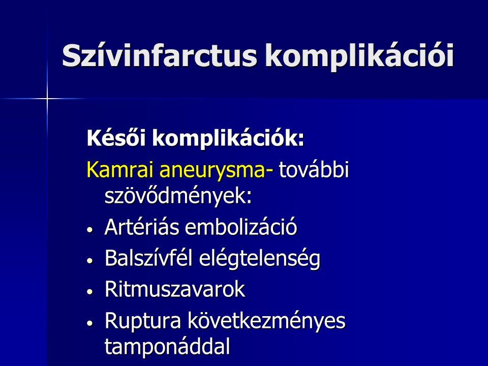 Szívinfarctus komplikációi Késői komplikációk: Kamrai aneurysma- további szövődmények: Artériás embolizáció Artériás embolizáció Balszívfél elégtelenség Balszívfél elégtelenség Ritmuszavarok Ritmuszavarok Ruptura következményes tamponáddal Ruptura következményes tamponáddal