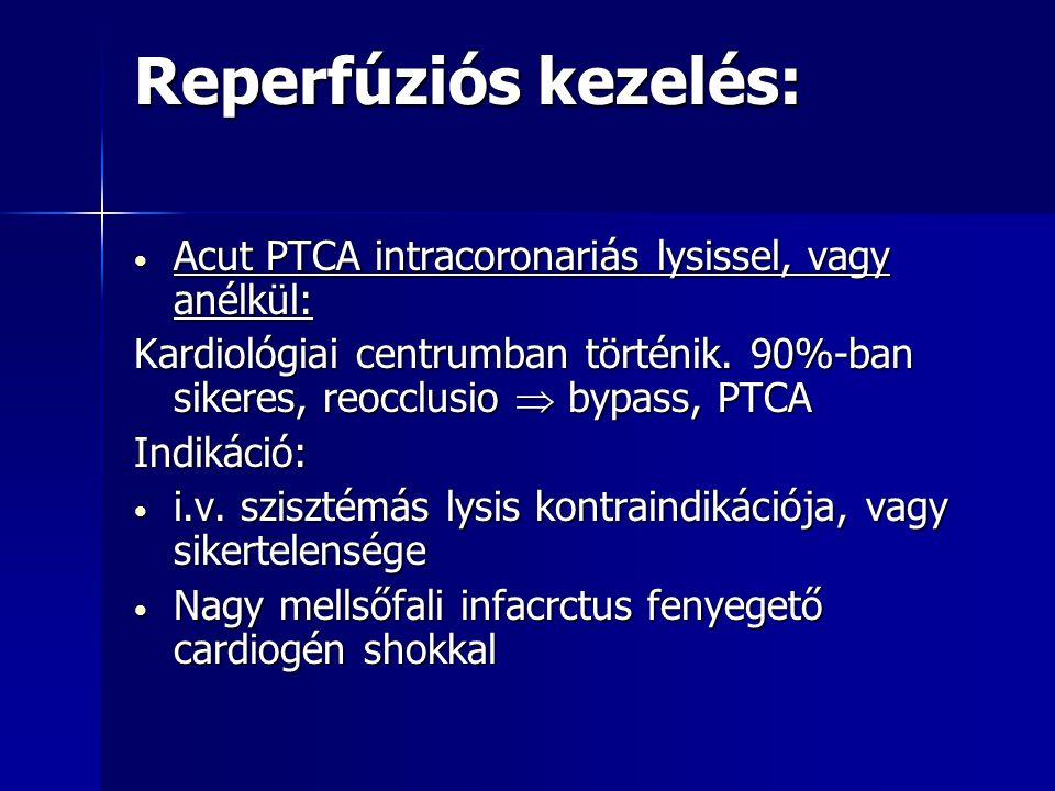 Reperfúziós kezelés: Acut PTCA intracoronariás lysissel, vagy anélkül: Acut PTCA intracoronariás lysissel, vagy anélkül: Kardiológiai centrumban történik.