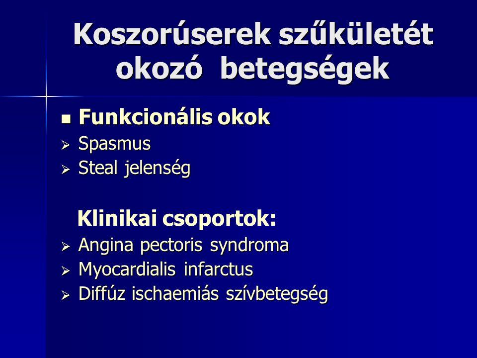 Koszorúserek szűkületét okozó betegségek Funkcionális okok Funkcionális okok  Spasmus  Steal jelenség Klinikai csoportok:  Angina pectoris syndroma  Myocardialis infarctus  Diffúz ischaemiás szívbetegség
