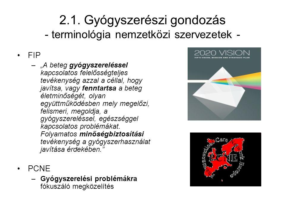 """2.1. Gyógyszerészi gondozás - terminológia nemzetközi szervezetek - FIP –""""A beteg gyógyszereléssel kapcsolatos felelősségteljes tevékenység azzal a cé"""