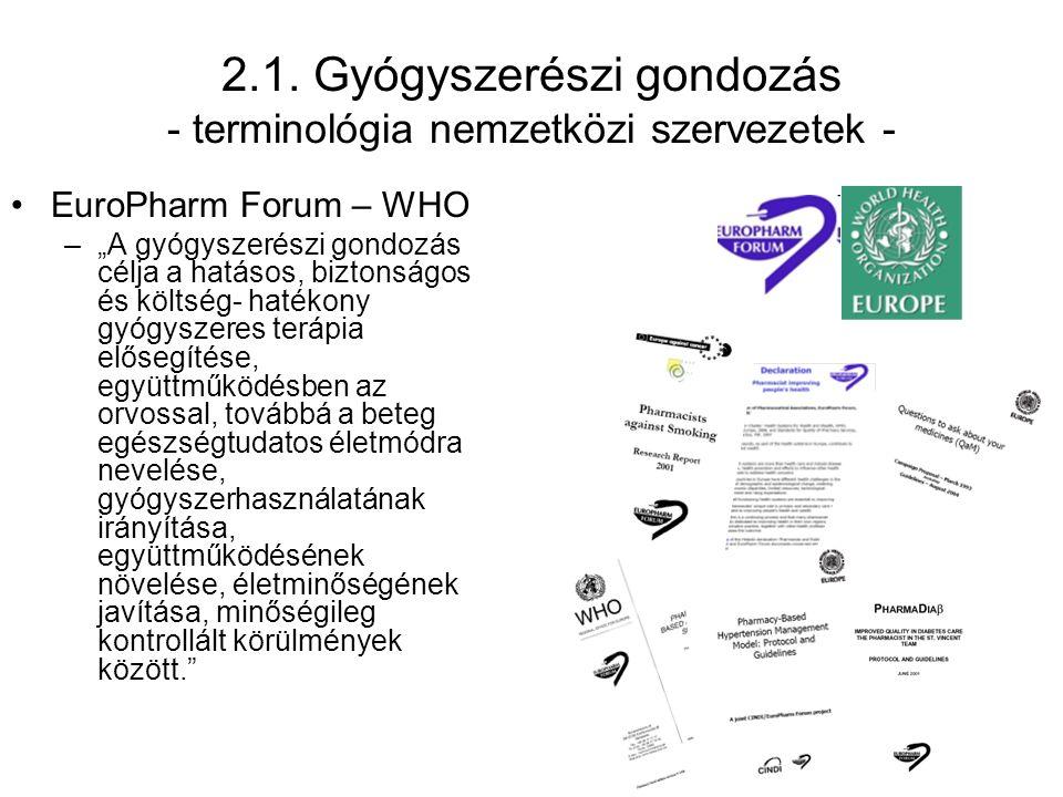 """2.1. Gyógyszerészi gondozás - terminológia nemzetközi szervezetek - EuroPharm Forum – WHO –""""A gyógyszerészi gondozás célja a hatásos, biztonságos és k"""