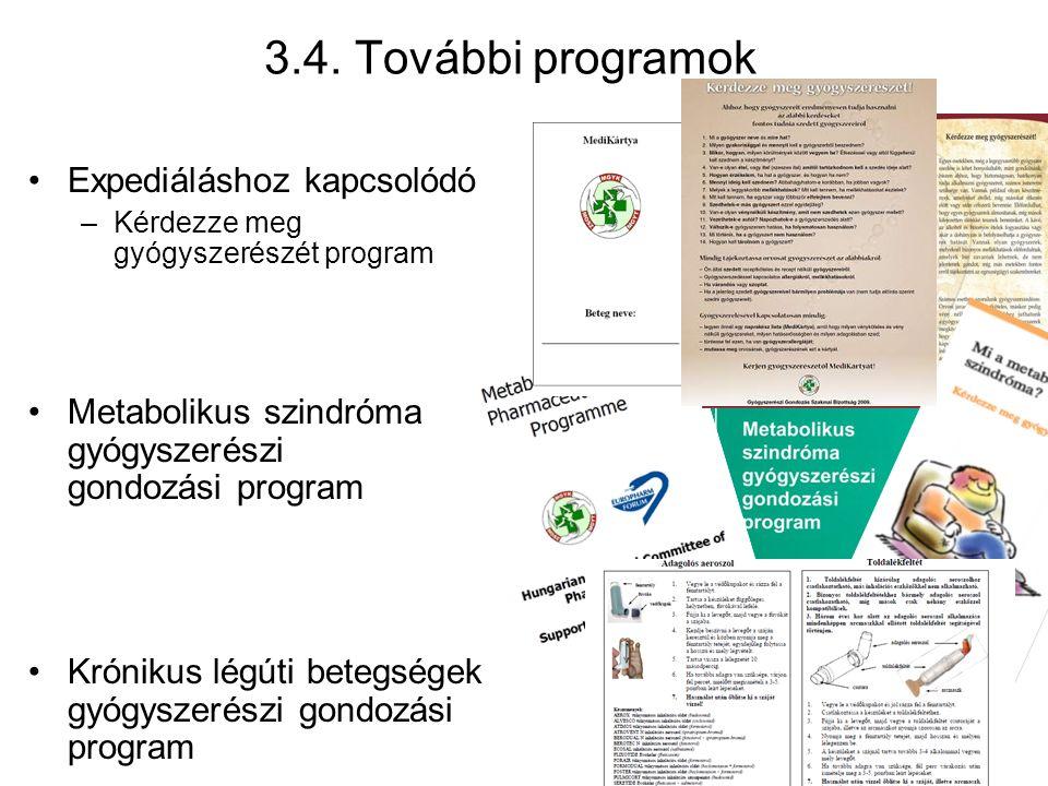 3.4. További programok Expediáláshoz kapcsolódó –Kérdezze meg gyógyszerészét program Metabolikus szindróma gyógyszerészi gondozási program Krónikus lé