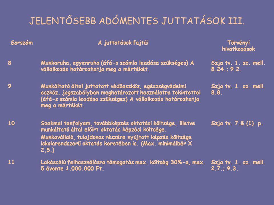 JELENTŐSEBB ADÓMENTES JUTTATÁSOK III. SorszámA juttatások fajtáiTörvényi hivatkozások 8Munkaruha, egyenruha (áfá-s számla leadása szükséges) A vállalk
