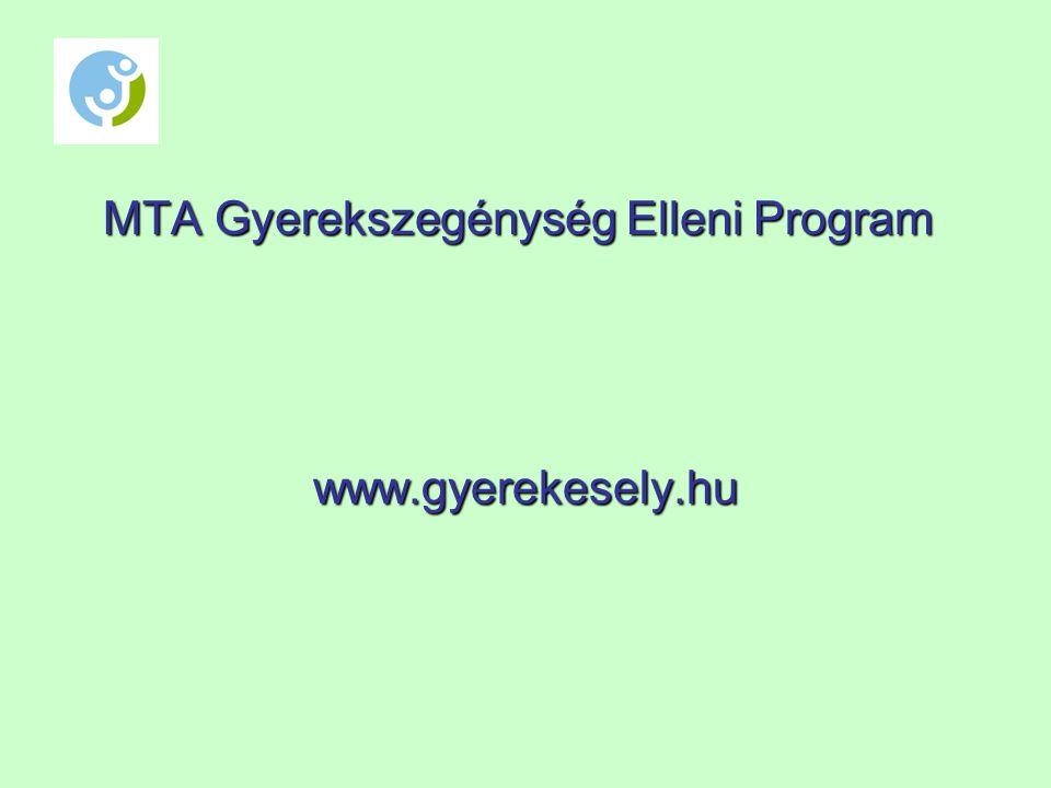 MTA Gyerekszegénység Elleni Program www.gyerekesely.hu