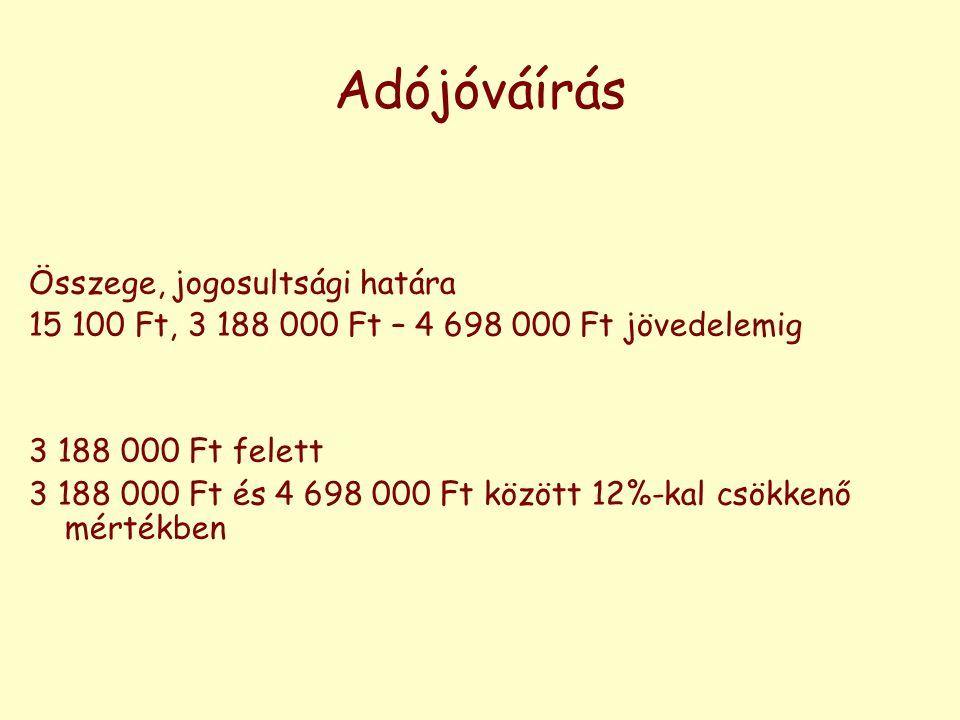 Adójóváírás Összege, jogosultsági határa 15 100 Ft, 3 188 000 Ft – 4 698 000 Ft jövedelemig 3 188 000 Ft felett 3 188 000 Ft és 4 698 000 Ft között 12
