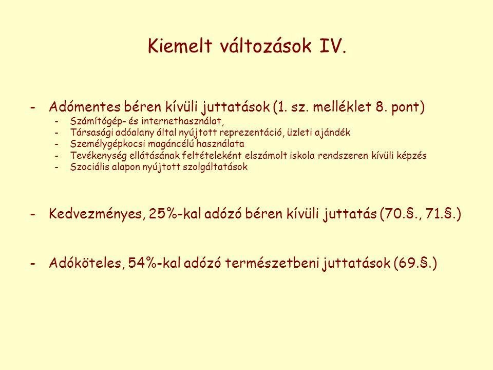 Kiemelt változások IV. -Adómentes béren kívüli juttatások (1. sz. melléklet 8. pont) -Számítógép- és internethasználat, -Társasági adóalany által nyúj