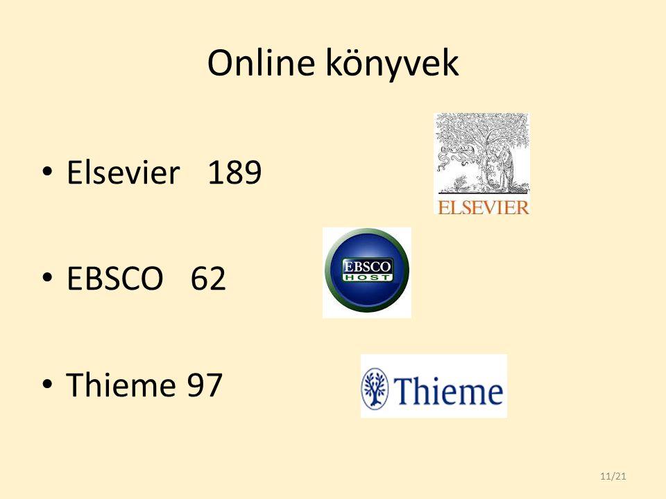 Online könyvek Elsevier 189 EBSCO 62 Thieme 97 11/21