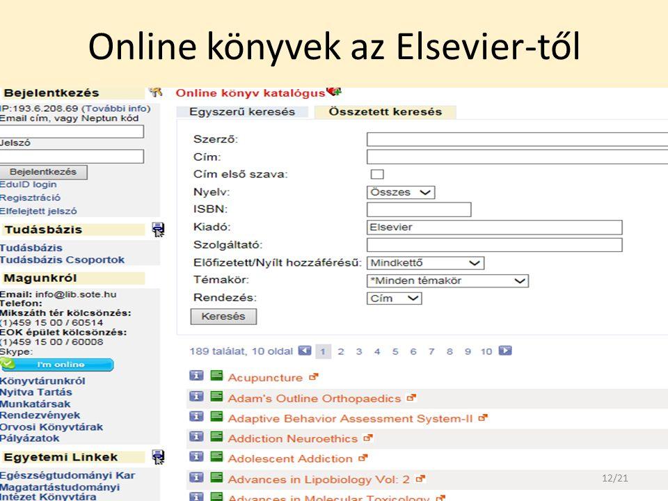 Online könyvek az Elsevier-től 12/21