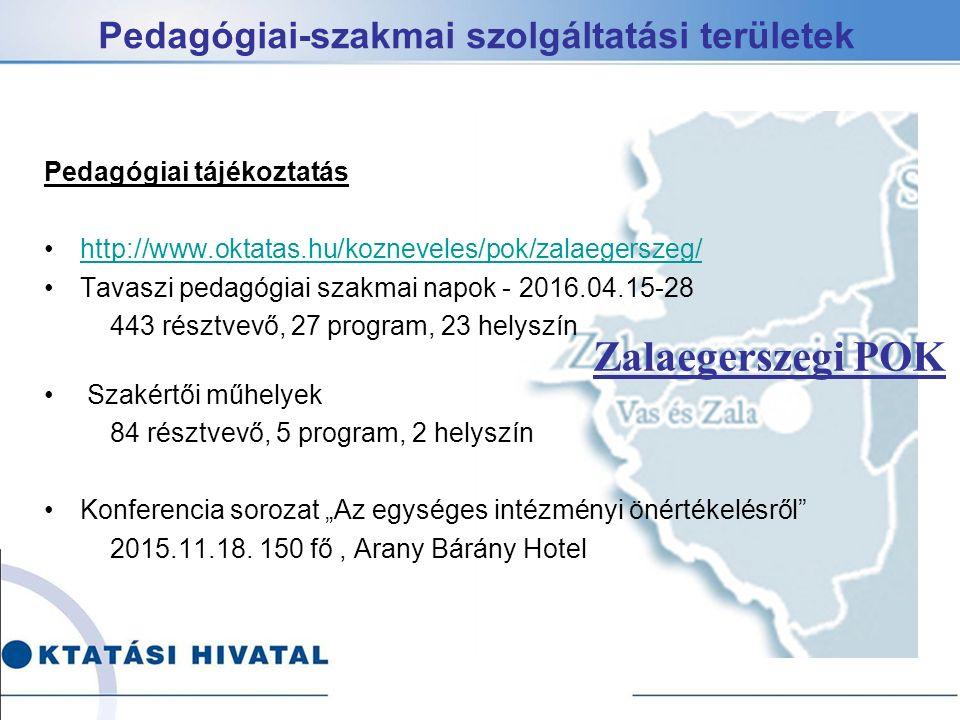 """Pedagógiai-szakmai szolgáltatási területek Pedagógiai tájékoztatás http://www.oktatas.hu/kozneveles/pok/zalaegerszeg/ Tavaszi pedagógiai szakmai napok - 2016.04.15-28 443 résztvevő, 27 program, 23 helyszín Szakértői műhelyek 84 résztvevő, 5 program, 2 helyszín Konferencia sorozat """"Az egységes intézményi önértékelésről 2015.11.18."""