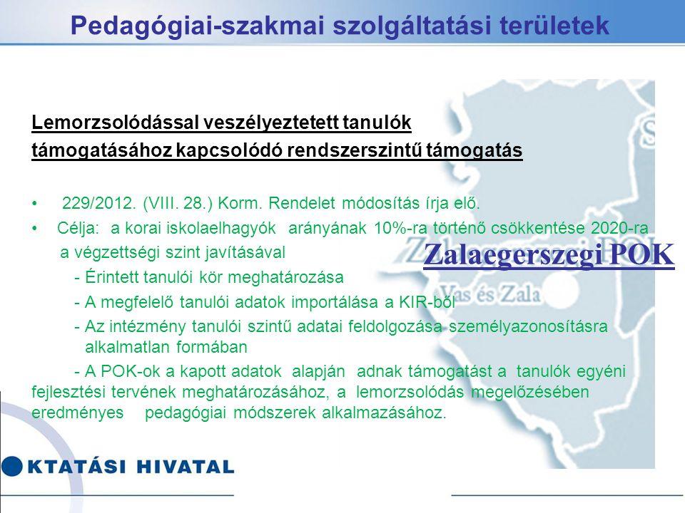 Pedagógiai-szakmai szolgáltatási területek Lemorzsolódással veszélyeztetett tanulók támogatásához kapcsolódó rendszerszintű támogatás 229/2012.