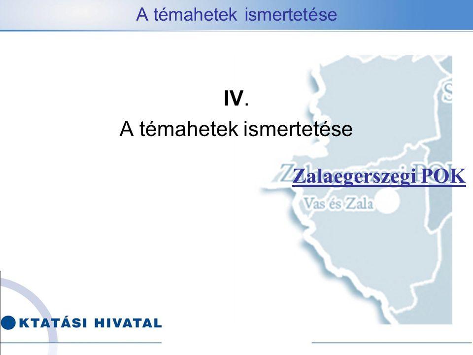 A témahetek ismertetése Zalaegerszegi POK IV. A témahetek ismertetése
