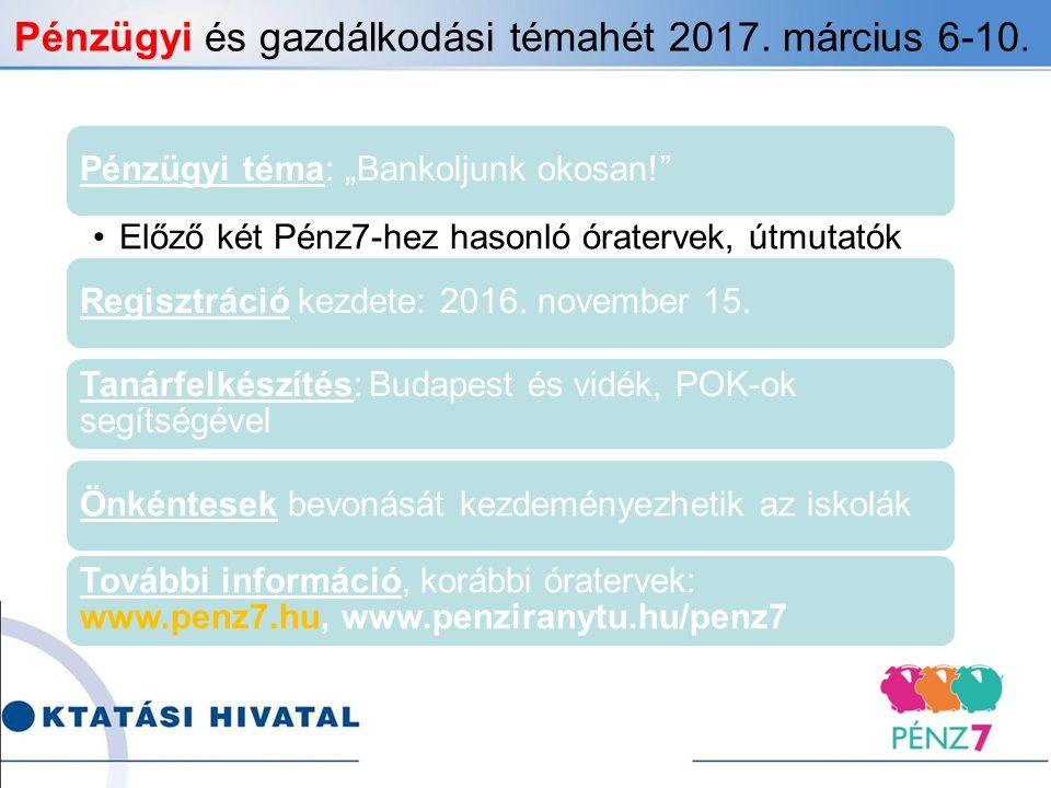 Pénzügyi és gazdálkodási témahét 2017.március 6-10.