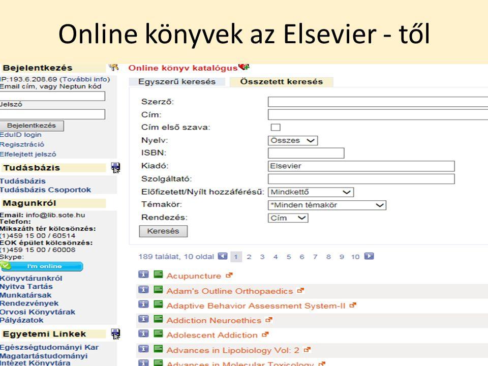 Online könyvek az Elsevier - től
