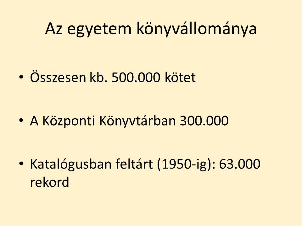 Az egyetem könyvállománya Összesen kb. 500.000 kötet A Központi Könyvtárban 300.000 Katalógusban feltárt (1950-ig): 63.000 rekord