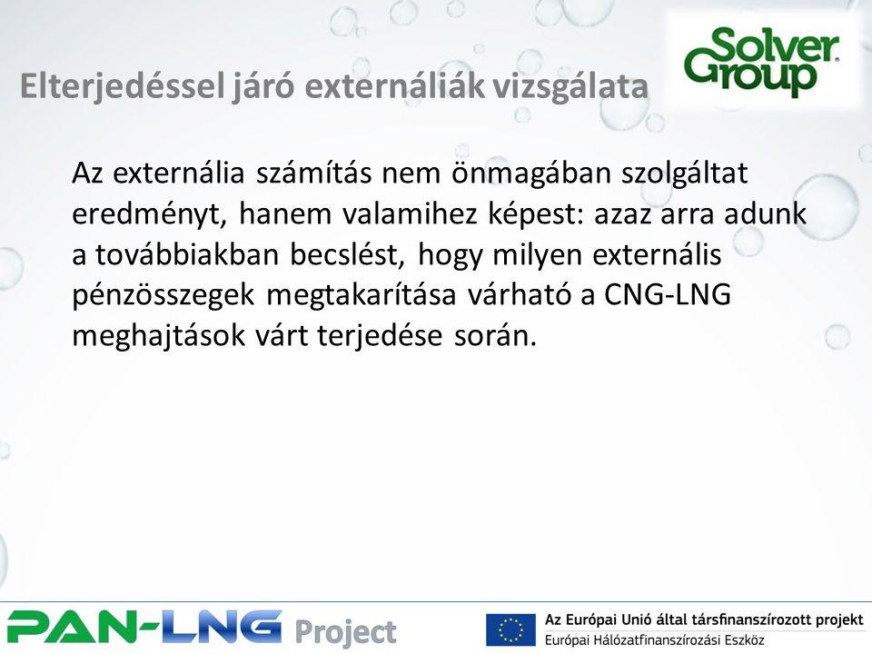 Elterjedéssel járó externáliák vizsgálata Az externália számítás nem önmagában szolgáltat eredményt, hanem valamihez képest: azaz arra adunk a továbbiakban becslést, hogy milyen externális pénzösszegek megtakarítása várható a CNG-LNG meghajtások várt terjedése során.