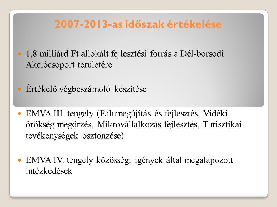 2007-2013-as időszak értékelése 1,8 milliárd Ft allokált fejlesztési forrás a Dél-borsodi Akciócsoport területére Értékelő végbeszámoló készítése EMVA III.