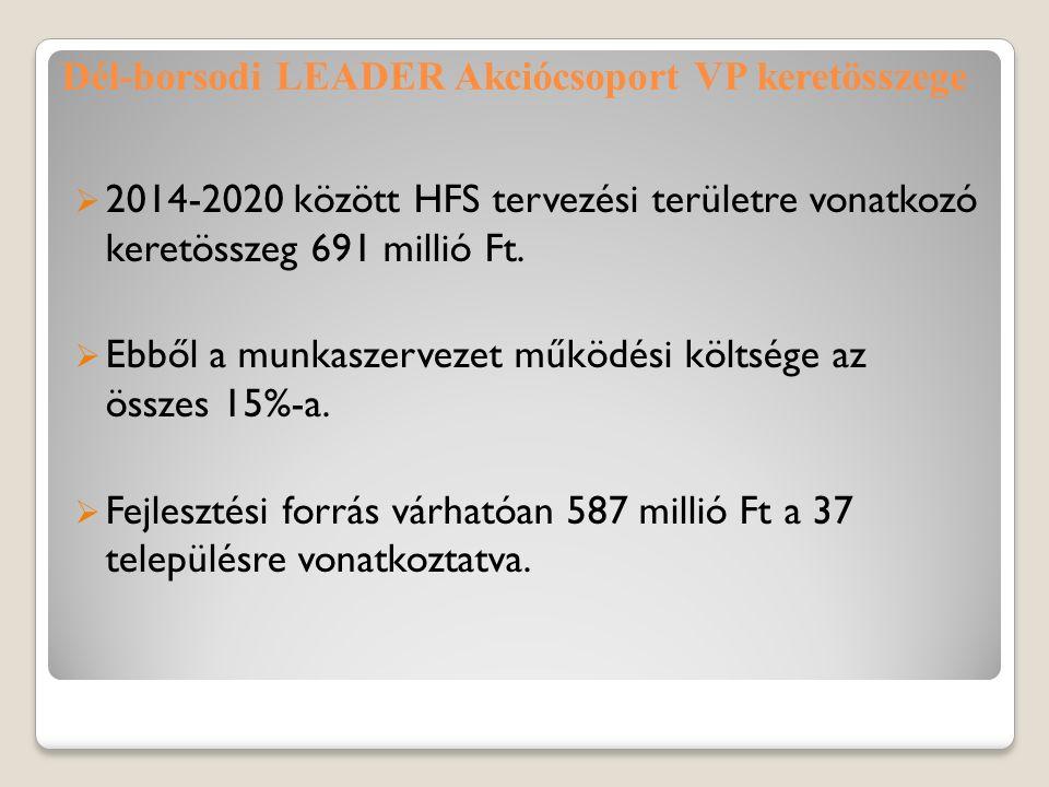 Dél-borsodi LEADER Akciócsoport VP keretösszege  2014-2020 között HFS tervezési területre vonatkozó keretösszeg 691 millió Ft.