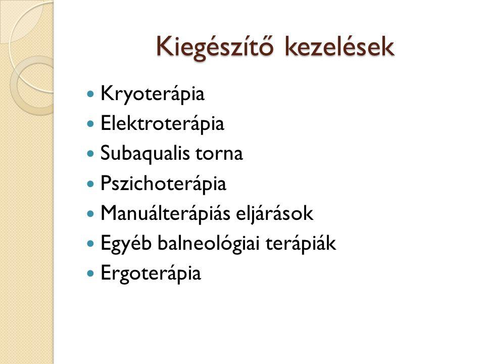 Kiegészítő kezelések Kryoterápia Elektroterápia Subaqualis torna Pszichoterápia Manuálterápiás eljárások Egyéb balneológiai terápiák Ergoterápia