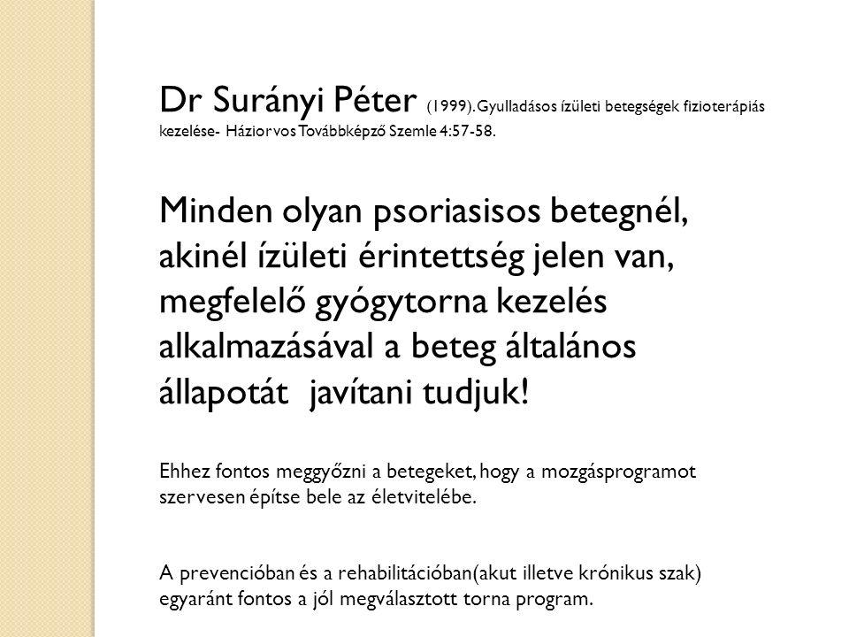 Dr Surányi Péter (1999). Gyulladásos ízületi betegségek fizioterápiás kezelése- Háziorvos Továbbképző Szemle 4:57-58. Minden olyan psoriasisos betegné