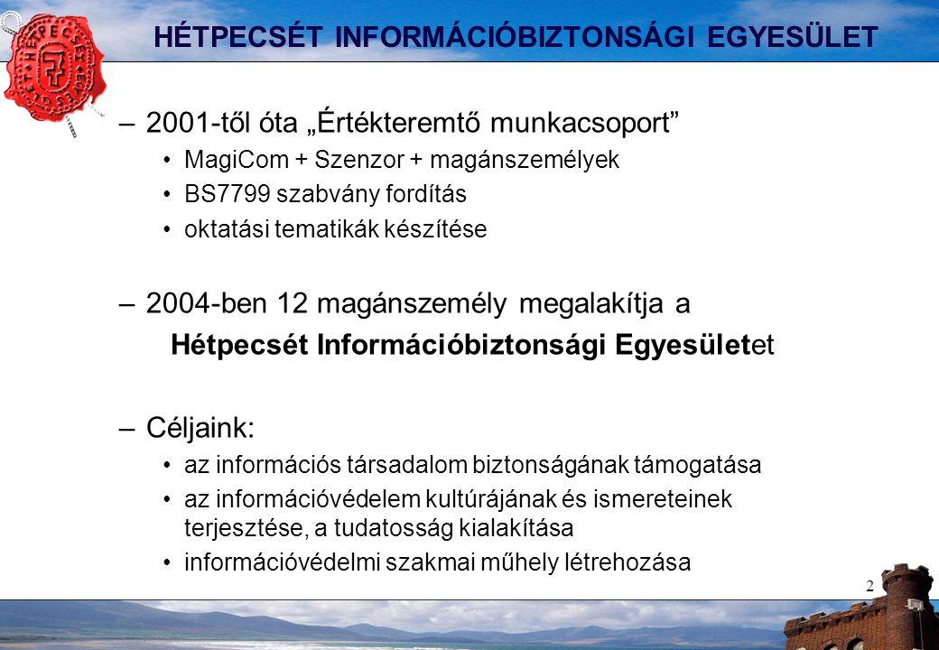 """2 HÉTPECSÉT INFORMÁCIÓBIZTONSÁGI EGYESÜLET –2001-től óta """"Értékteremtő munkacsoport"""" MagiCom + Szenzor + magánszemélyek BS7799 szabvány fordítás oktat"""