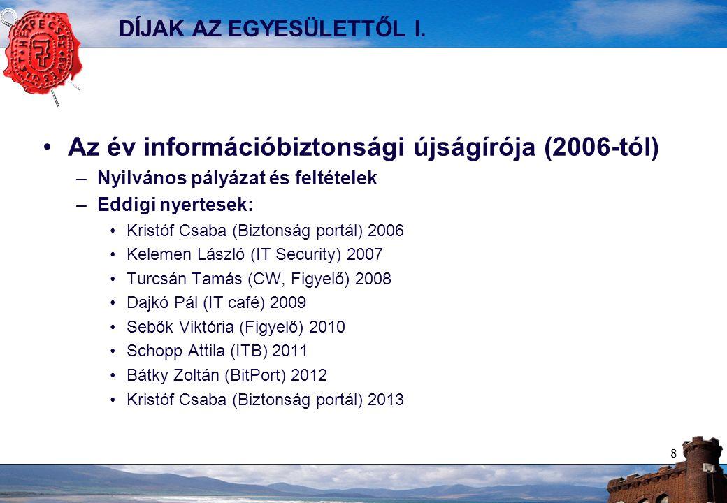 88 DÍJAK AZ EGYESÜLETTŐL I. Az év információbiztonsági újságírója (2006-tól) –Nyilvános pályázat és feltételek –Eddigi nyertesek: Kristóf Csaba (Bizto
