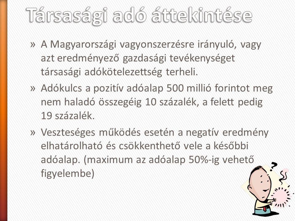 » A Magyarországi vagyonszerzésre irányuló, vagy azt eredményező gazdasági tevékenységet társasági adókötelezettség terheli.