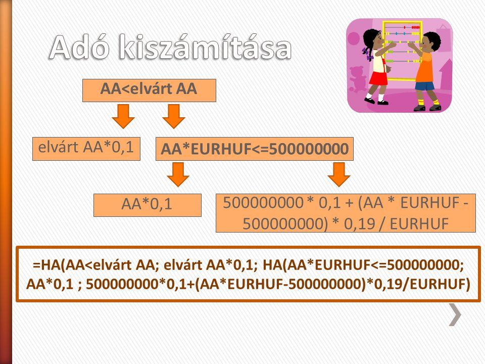 AA<elvárt AA AA*EURHUF<=500000000 elvárt AA*0,1 AA*0,1 500000000 * 0,1 + (AA * EURHUF - 500000000) * 0,19 / EURHUF =HA(AA<elvárt AA; elvárt AA*0,1; HA(AA*EURHUF<=500000000; AA*0,1 ; 500000000*0,1+(AA*EURHUF-500000000)*0,19/EURHUF)