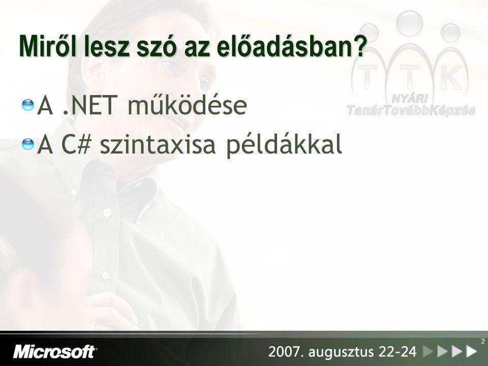 2 Miről lesz szó az előadásban A.NET működése A C# szintaxisa példákkal