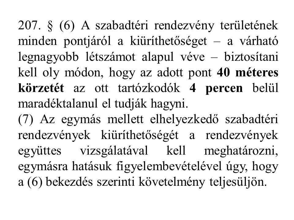 207. § (6) A szabadtéri rendezvény területének minden pontjáról a kiüríthetőséget – a várható legnagyobb létszámot alapul véve – biztosítani kell oly