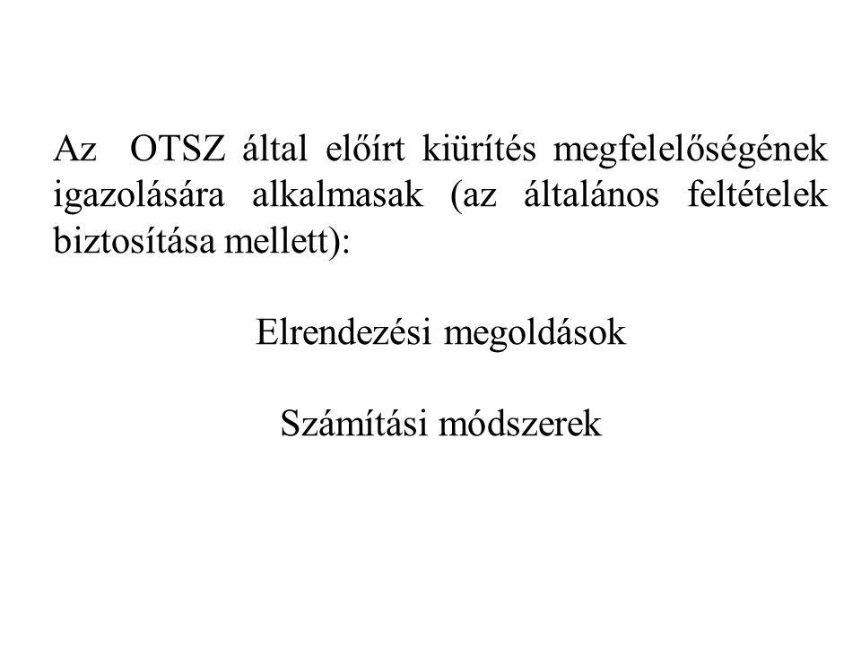 Az OTSZ által előírt kiürítés megfelelőségének igazolására alkalmasak (az általános feltételek biztosítása mellett): Elrendezési megoldások Számítási módszerek
