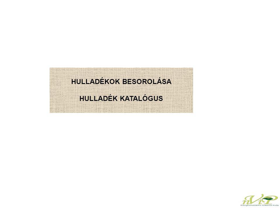 HULLADÉKOK BESOROLÁSA HULLADÉK KATALÓGUS
