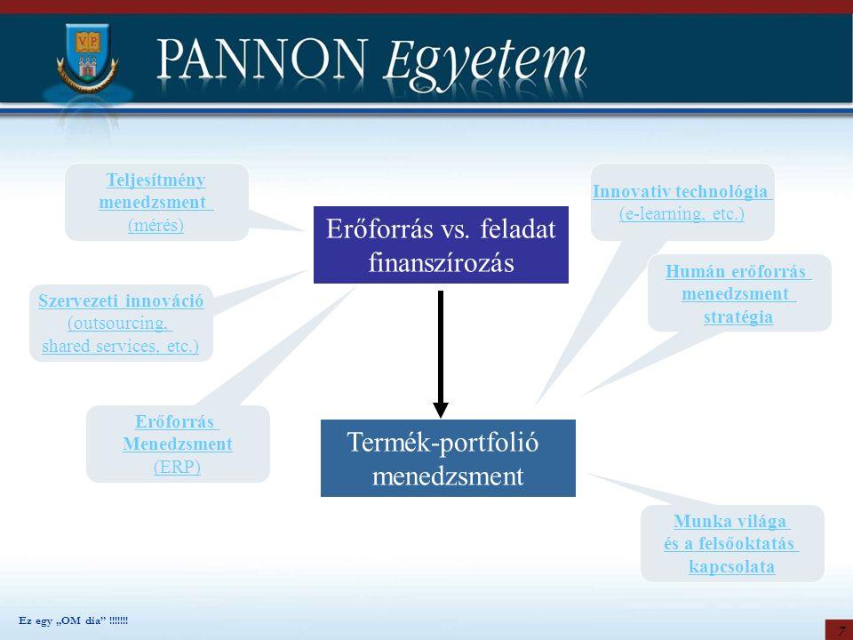 7 Teljesítmény menedzsment (mérés) Szervezeti innováció (outsourcing, shared services, etc.) Erőforrás Menedzsment (ERP) Erőforrás vs. feladat finansz
