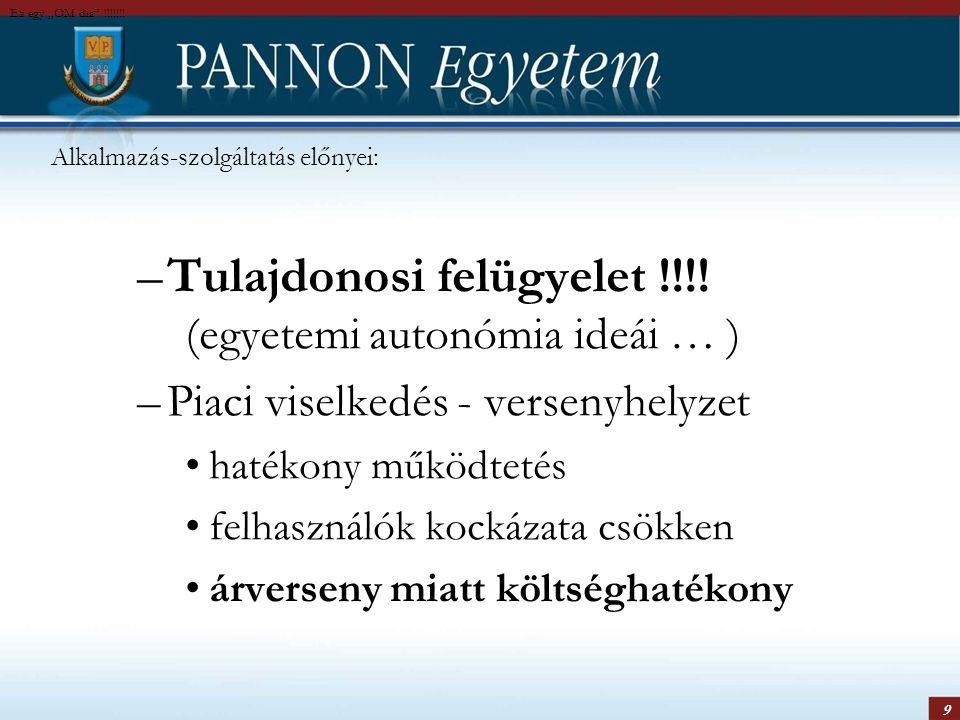 9 Alkalmazás-szolgáltatás előnyei: –Tulajdonosi felügyelet !!!! (egyetemi autonómia ideái … ) –Piaci viselkedés - versenyhelyzet hatékony működtetés f