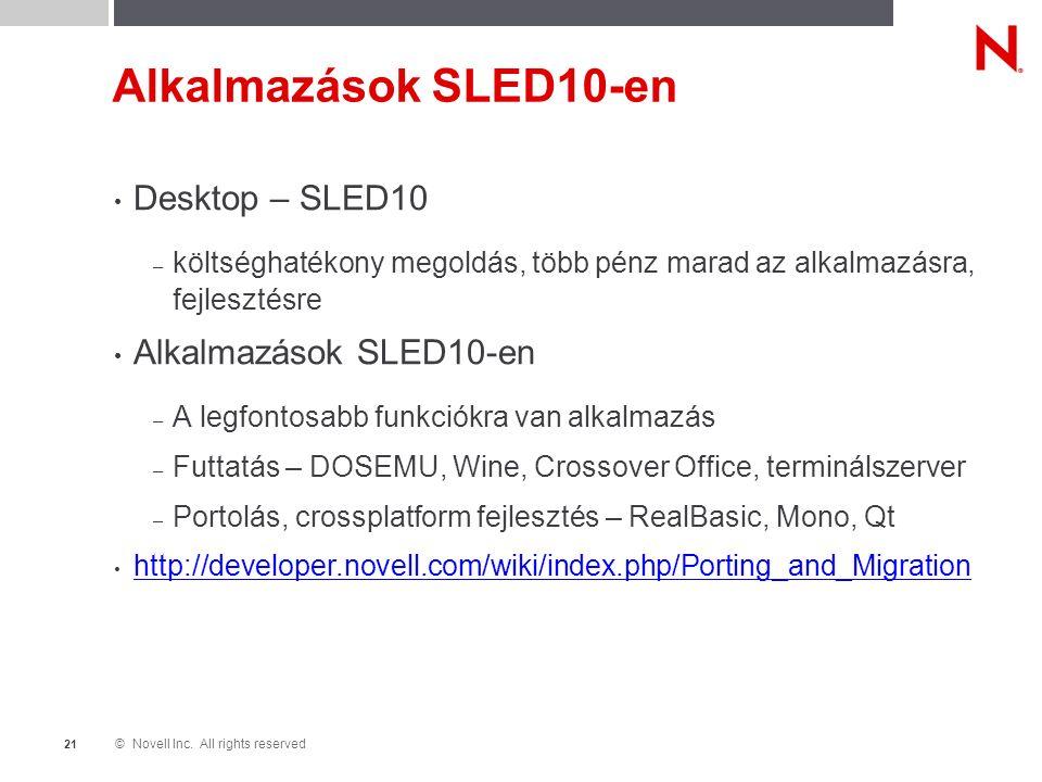 © Novell Inc. All rights reserved 2121 Alkalmazások SLED10-en Desktop – SLED10 – költséghatékony megoldás, több pénz marad az alkalmazásra, fejlesztés