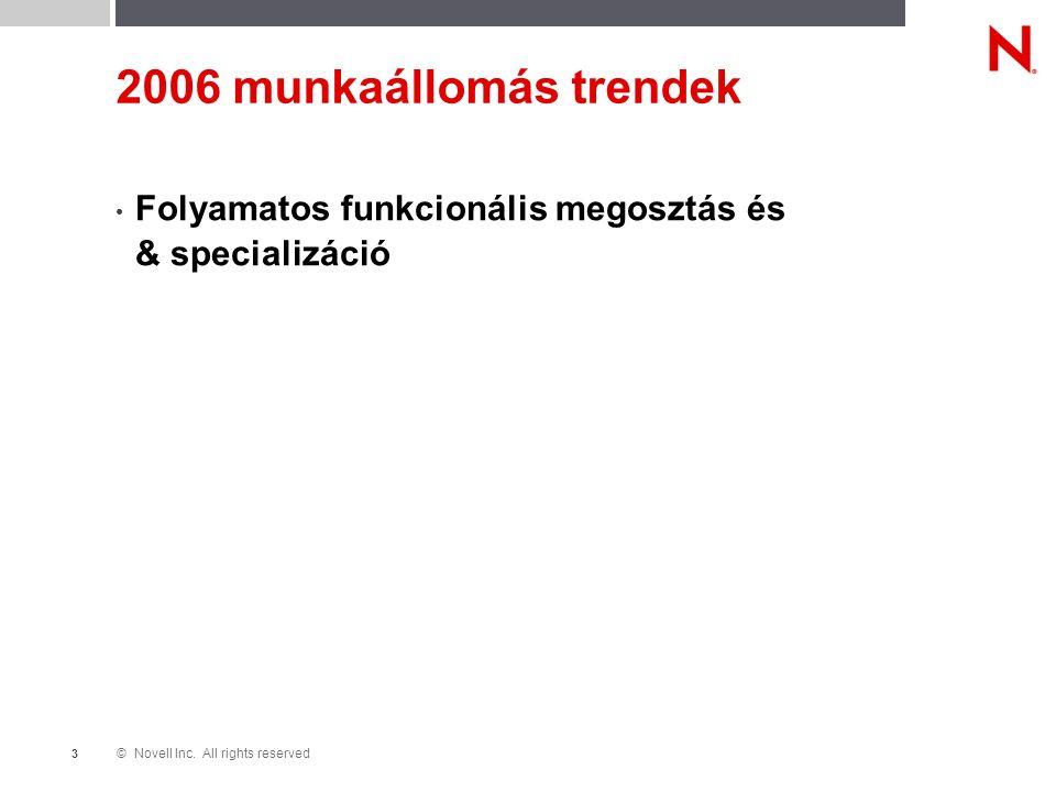 © Novell Inc. All rights reserved 3 2006 munkaállomás trendek Folyamatos funkcionális megosztás és & specializáció
