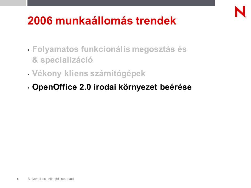 © Novell Inc. All rights reserved 5 2006 munkaállomás trendek Folyamatos funkcionális megosztás és & specializáció Vékony kliens számítógépek OpenOffi