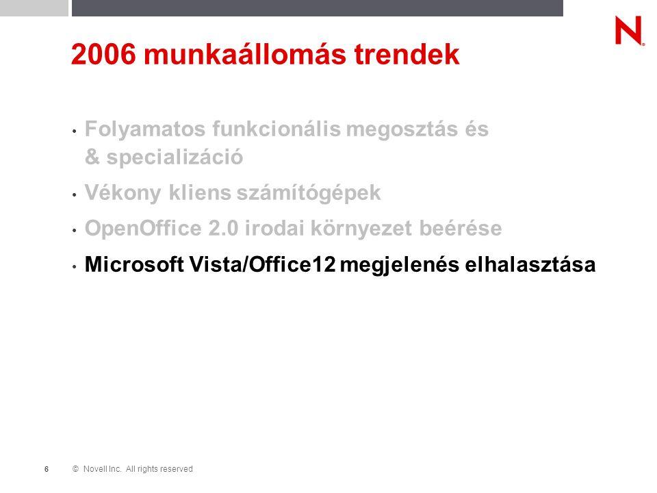 © Novell Inc. All rights reserved 6 2006 munkaállomás trendek Folyamatos funkcionális megosztás és & specializáció Vékony kliens számítógépek OpenOffi