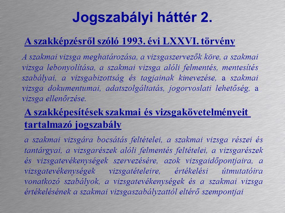 Jogszabályi háttér 2. A szakképzésről szóló 1993. évi LXXVI. törvény A szakképesítések szakmai és vizsgakövetelményeit tartalmazó jogszabály A szakmai